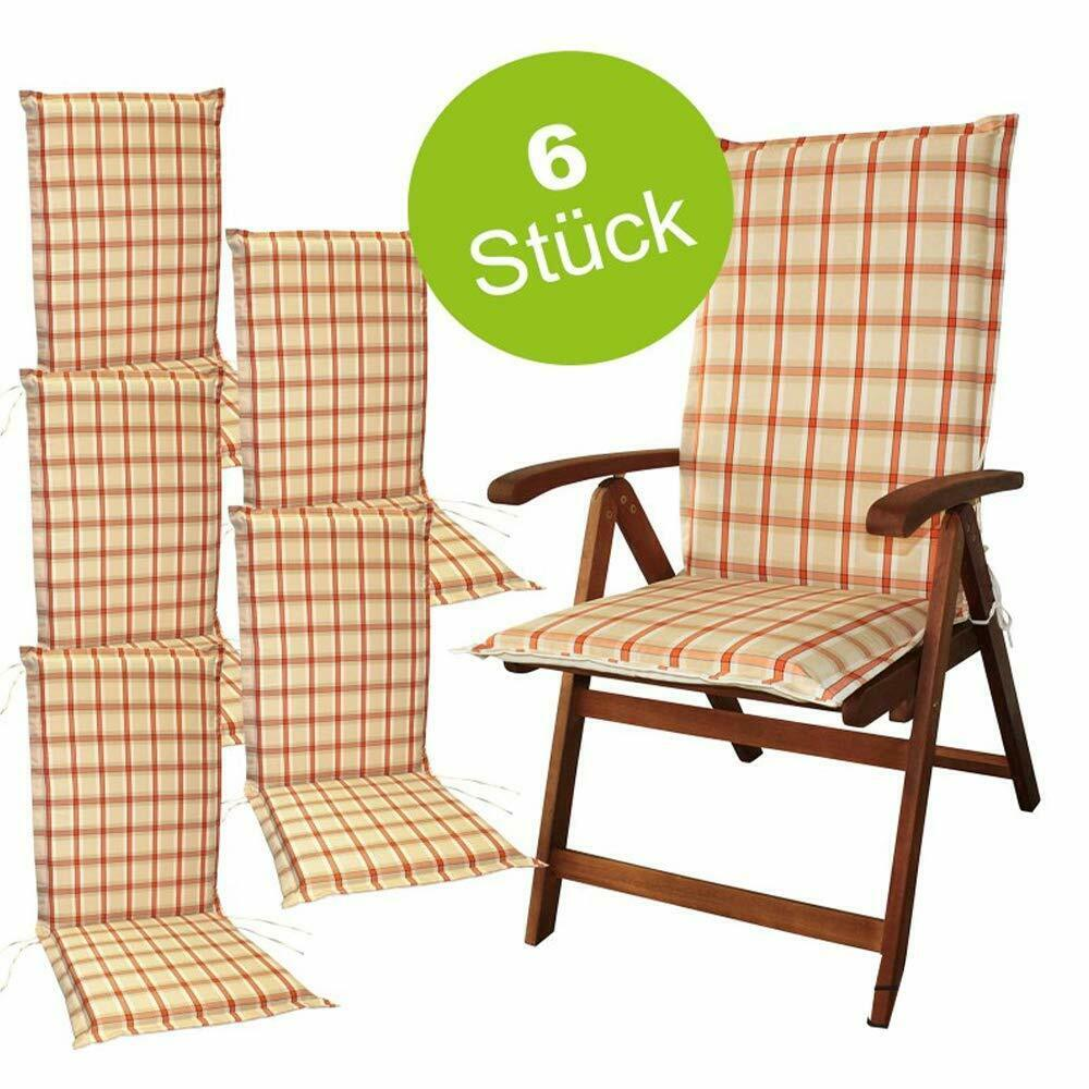 6x Set Sitzauflage Hochlehner für Gartenmöbel Polsterauflage Sitzpolster Karo