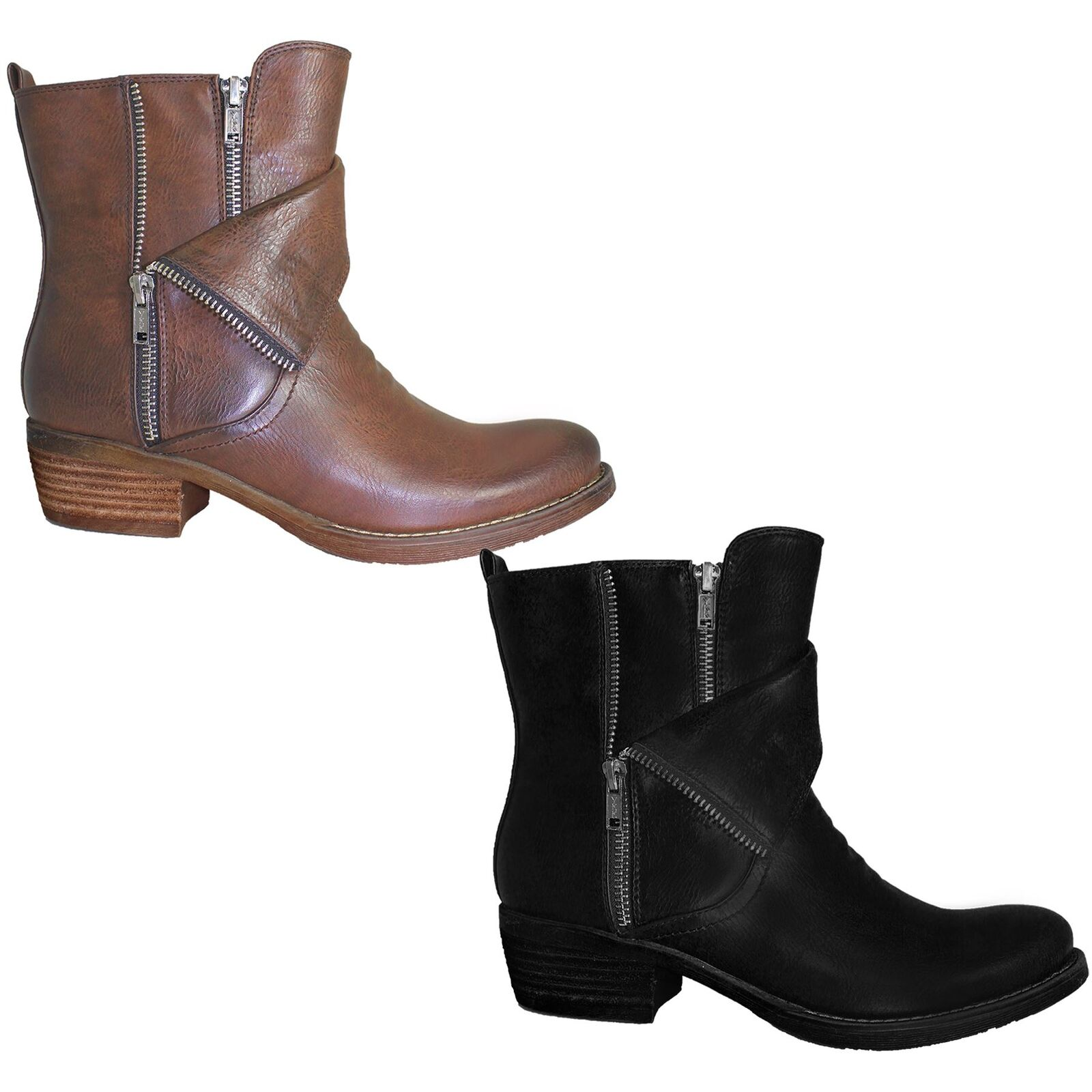Women's Faux PU Leather Double Zip Ladies Low Chunky Heel Warm Ankle Boots