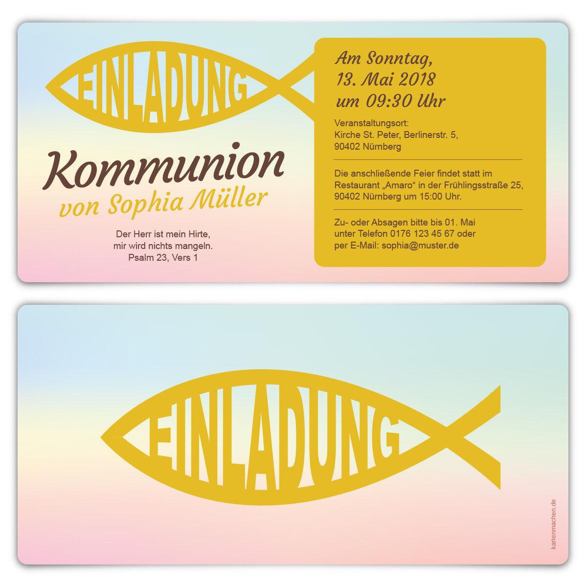 Kommunion Kommunion Kommunion Einladungskarte Kommunionseinladung Kommunionskarte Bunter Jesus Fisch 70df29