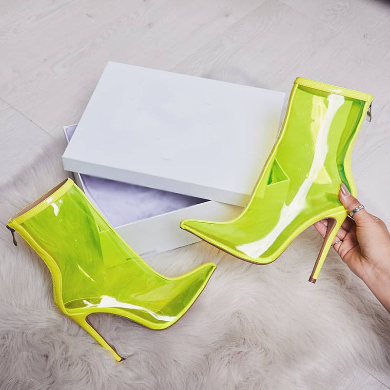 Donna Clear Slim High Heels Back Zip Pointed Pointed Pointed Toe 4 Coloreeeeees Ankle stivali Stylish 1d3092