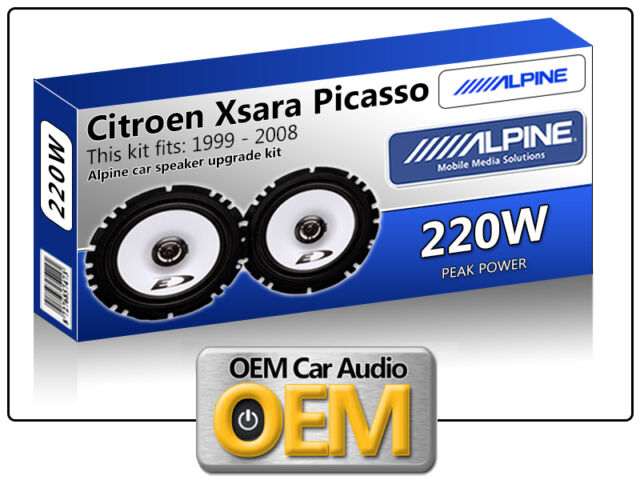 """Citroen Xsara Picasso Front Door speakers Alpine 17cm 6.5"""" car speaker kit 220W"""