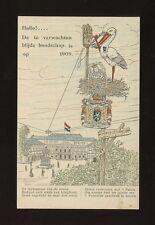 Netherlands Holland 1909 Royalty Baby Juliana birth stork telephone unused PPC