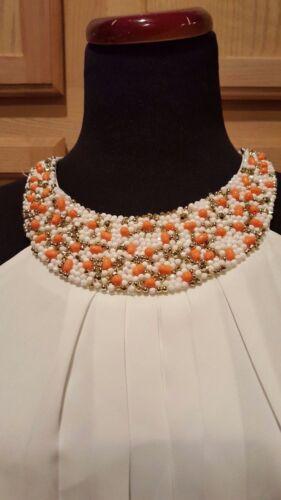 Nine West Ivory Chiffon//Coral Bead Embellished Pleated Blouson Bodice Maxi Dress