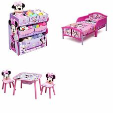 Minnie Mouse Toddler Bedroom Furniture Set Disney Bed Toy Bin Pink Girls New