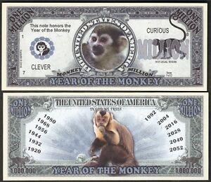 Grizzly Bear Million Dollar Bill **Novelty Money** FREE Sleeve