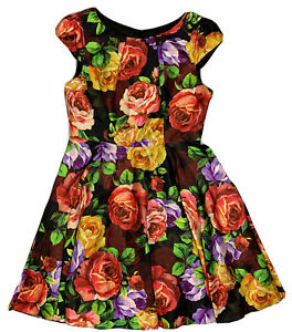 Review-Bright-Multicoloured-Floral-Fit-n-Flare-Cap-Sleeve-Dress-Size-12