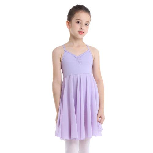 UK Girls Chiffon Ballet Dancer Leotard Dress Lyrical Modern Dance Show Costume