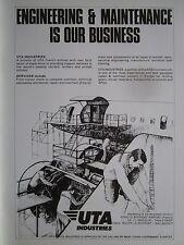 1985 PUB UTA INDUSTRIES AIRLINE AIRLINER ENGINEERING MAINTENANCE ORIGINAL AD