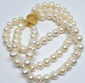 """8/"""" 3 rangées 8-9 mm Blanc Naturel D/'eau Douce Pearl PERLES rondes Femmes Bracelet"""