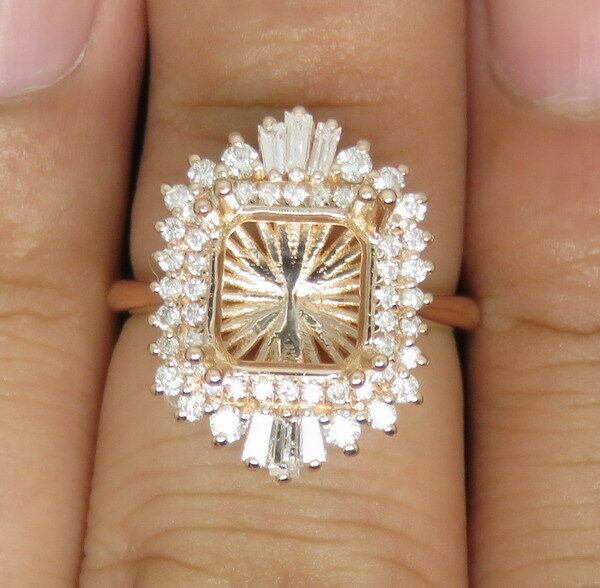 Princess Cut 8×8mm Solid 14K pink gold Natural Full Cut Diamond Semi Mount Ring