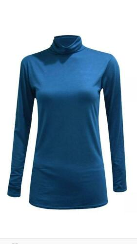 Ragazze Manica Lunga Polo con colletto Roll girocollo turtle neck women/'s Plain Top 8-26