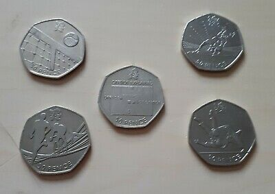 London 2012 All Olympic 50p Coins incl Triathlon Football Judo Wrestling Hockey