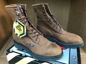 f5d6bd037a2 Details about Justin Conductor Brown Steel Toe 764 Kiltie Leather Lacer  Work Boots Men's 8 EE