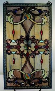 Elegant-Tiffany-Stained-Glass-Metal-Weave-Border-Window-Panel-26-x-15