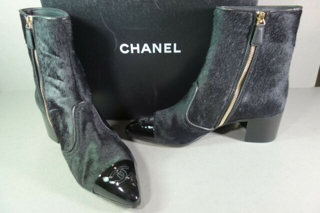 c0dc0673 CHANEL 41 Black Calf Hair Patent Bootie Short Gold Ankle BOOTS Stacked Heel