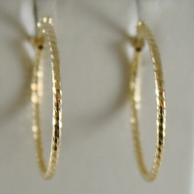 18K YELLOW GOLD STRIPED WORKED EARRINGS CIRCLE HOOP 22 MM DIAMETER MADE IN ITALY