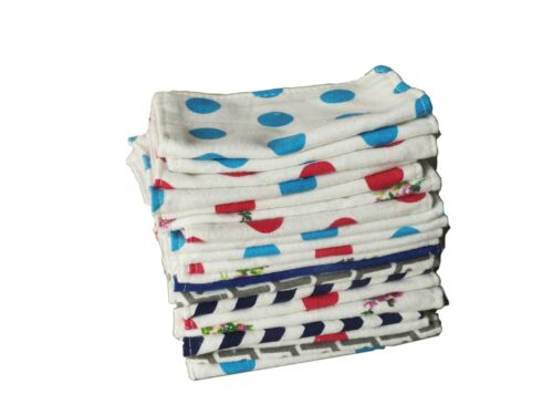 Reusable Baby Wipes 100/% Cotton Flannel Cloth 2 Layer Assorted Color Prints 10pc