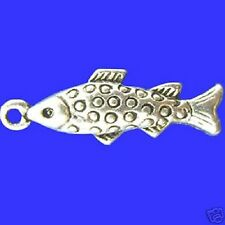 5 Tibetan Silver Fish Charms Pendant  Carp