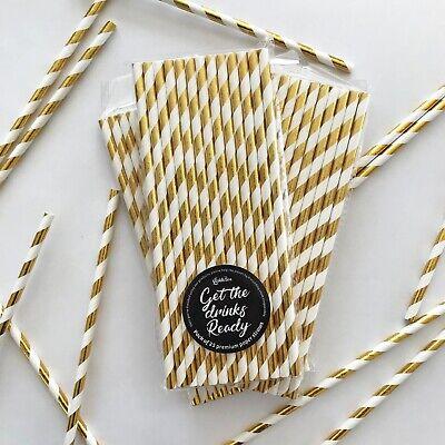 Gold Foil Paper Straws LickleBox Birthday Wedding Baby Shower UK STOCK