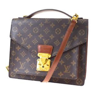 Auth-LOUIS-VUITTON-Monceau-2Way-Shoulder-Hand-Bag-Monogram-Brown-M51185-10MF134