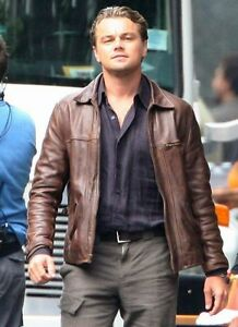 Brown Cobb Leather Vintage Jacket Genuine Mens Cow Inception wTxgfXqOO