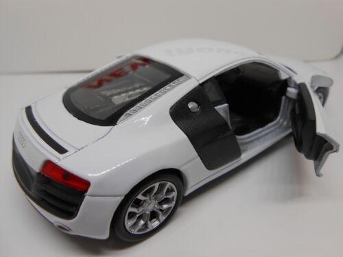 TOY CAR AUDI R8 V10 WHITE MODEL TOY CAR BOY GIRL DAD BIRTHDAY GIFT NEW /& BOXED!