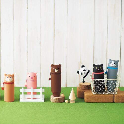 Panda silicone Japan A7712-6 Animal Pen Pencil Case & Holder Lihit Lab