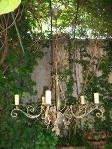 Antico grande elegante lampadario bronzo dorato 6luci post Liberty ricci foglie