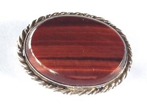 Vintage-Sterling-Silver-amp-Agate-Stone-Brooch-GIFT-BOXED