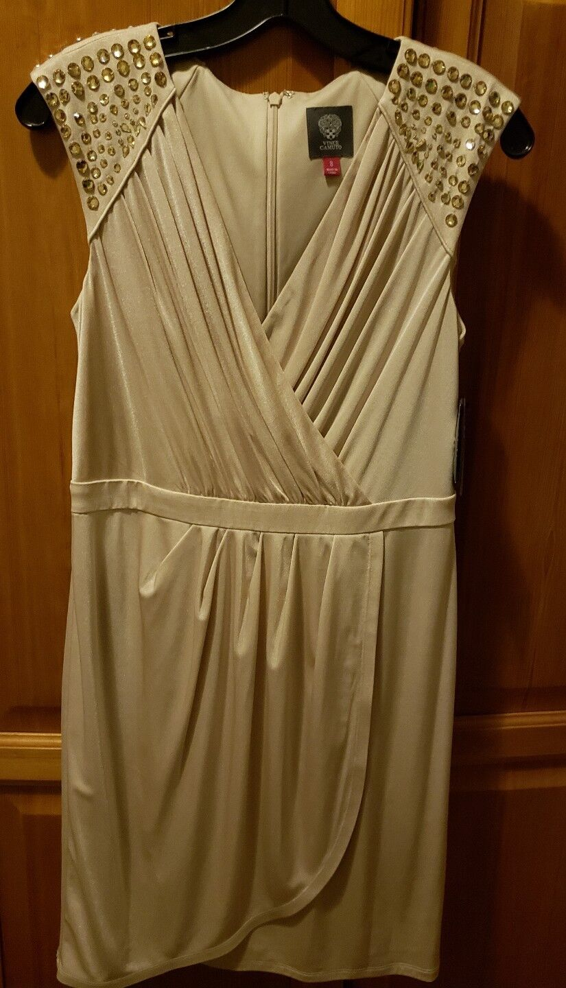 ba4d2bf70 Vince Camuto Studded Champagne Dress Size 8 NWT Style VC3P3514 ...
