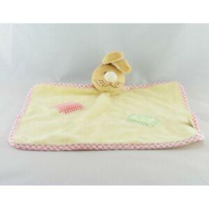 Doudou-plat-lapin-jaune-rose-carre-rose-et-vert-NOUKIE-039-S-LOT-DE-2-Lapin-Plat