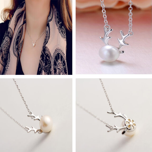 Fashionable Sweety Freshwater Pearl Deer Necklace Pendant Christmas Gift