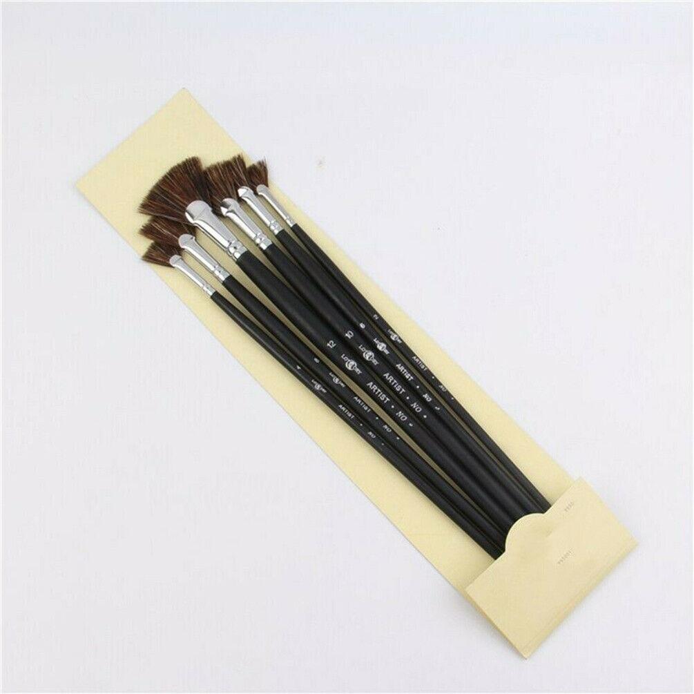 6X Wild Boar Bristle Brush Pen Fan Shap Watercolor Oil Painting Art Supplies Lot