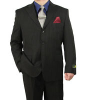 Sharp 2pc Mens 3b. Stripe Dress Suit Black 50r-72l Tb01