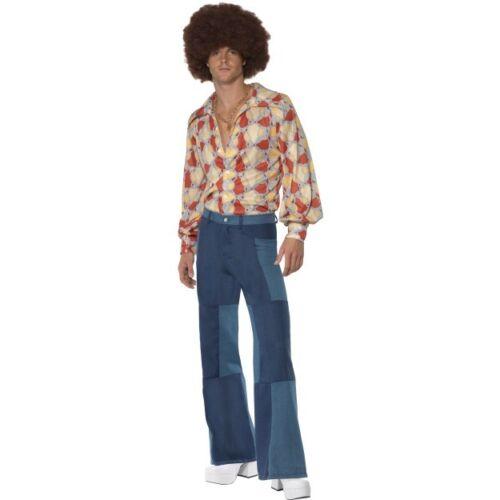 Men/'s anni 1970 Retrò Camicia /& Denim Pantaloni Costume Boogie addio al celibato tema