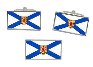 Select Gifts Nova Scotia Flag Cufflinks Engraved Tie Clip Matching Box Set