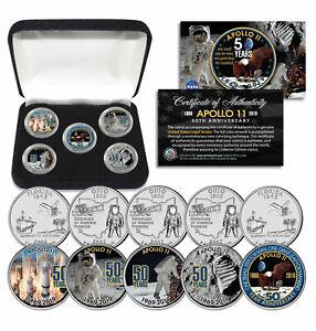 APOLLO-11-50th-Anniversary-Man-on-Moon-Statehood-Quarters-5-Coin-Set-with-Box