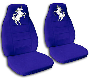 Image Is Loading 2 Front Dark Blue Unicorn Seat Covers Universal