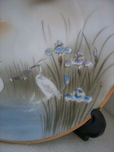 Antique-Kutani-Signed-Hand-Painted-CRANE-Purple-IRIS-CABINET-7-034-PLATE-Japanese