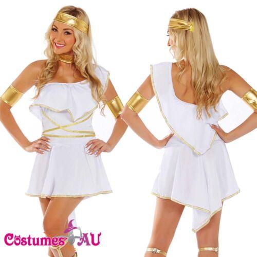 Ladies Cleopatra Roman Toga Robe Greek Goddess Fancy Dress Costume Outfits