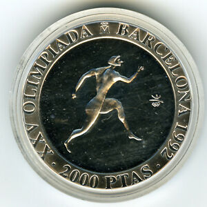 # SPAIN 1990 ☆ SILVER 2000 PTS • BARCELONA'92 OLYMPICS • RUNNING • PROOF  ☆C3501