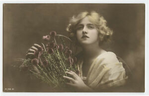 1910s-Glamour-Glamor-Pretty-YOUNG-LADY-British-Beauty-photo-postcard