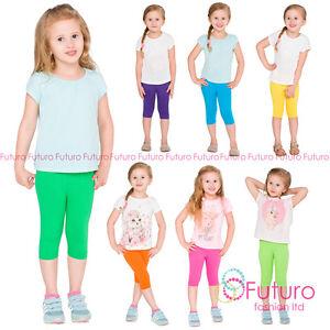 Recortada-Algodon-3-4-Ninos-Leggings-basica-Lisa-Ninos-Capri-Pantalones-Edad-2-13