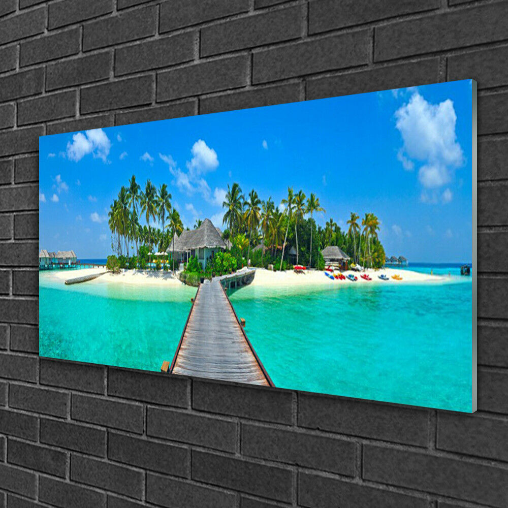 Glass print Wall art 100x50 Image Picture Beach Palm Trees Bridge Sea