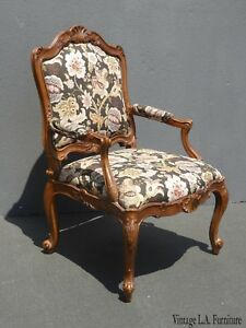 Vintage-French-Provincial-Brown-Floral-Accent-Bergere-Chair-by-Heritage