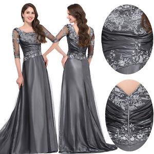 grau abendkleider ballkleider cocktailkleid lang party spitze brautmutter kleid