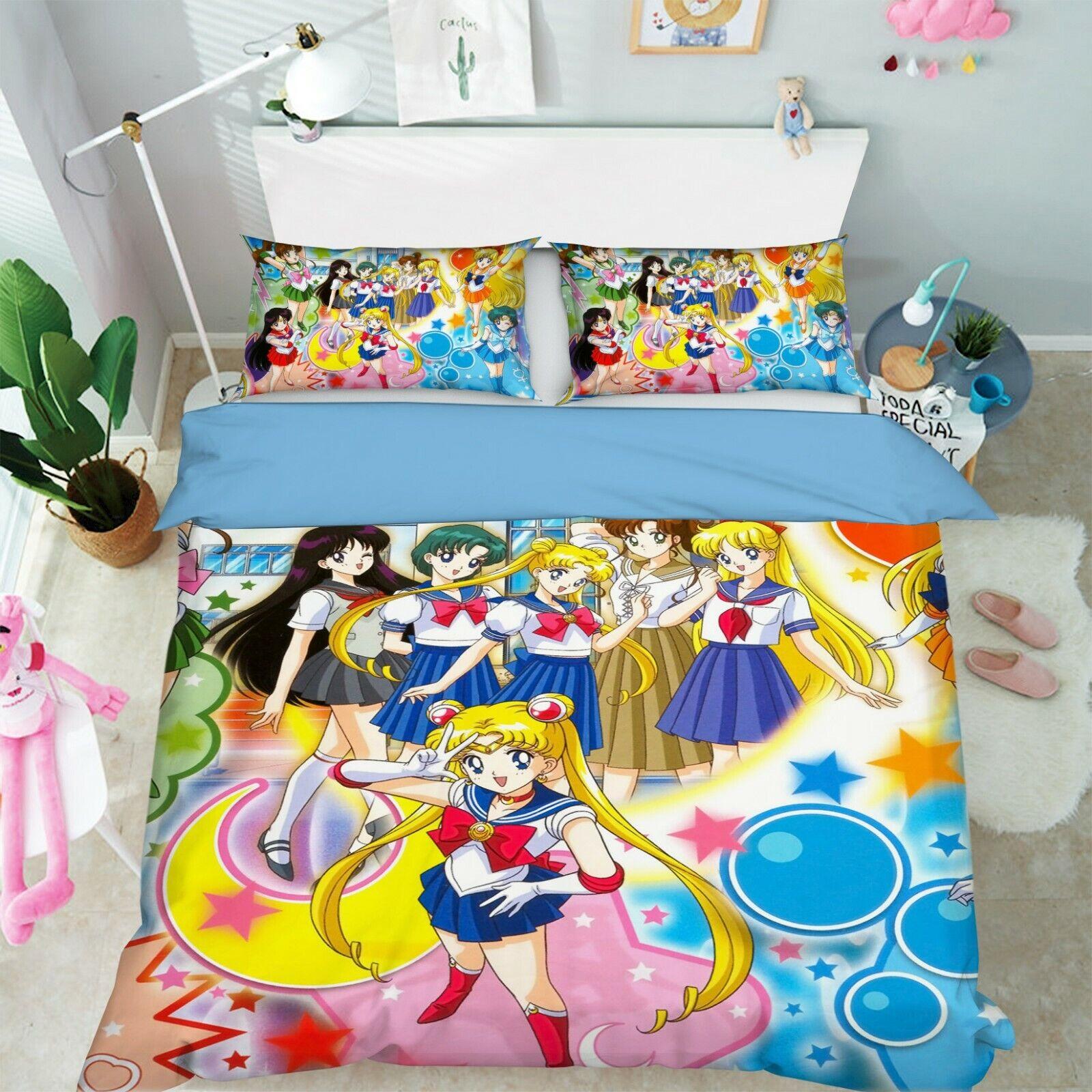 3D  Sailor Moon 8 Japan Anime Bed Pillowcases Quilt Duvet Cover Set Single