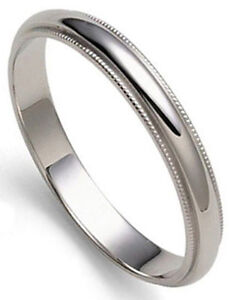 3 mm millgrained platinum dome s wedding band ring 1