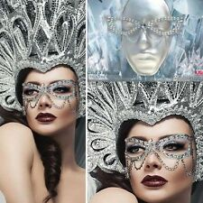 Reusable Silver Hanging Chain Glitter Gem Victorian Makeup Costume Face Mask Set