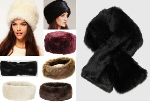 Ladies Womens High Quality Cosy Winter Warm Fur Hats Scarves Headband UK